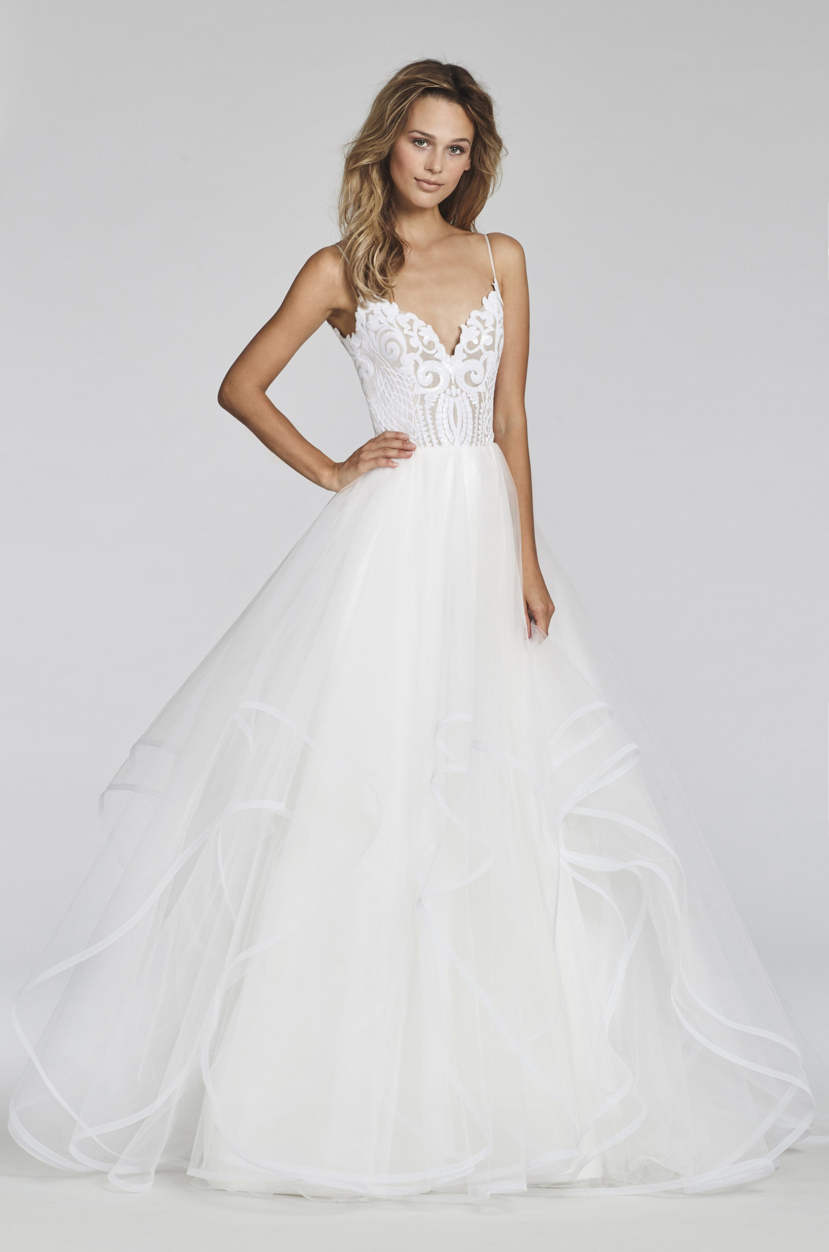 Ivory marrakesh beaded bridal ball gown scalloped sweetheart