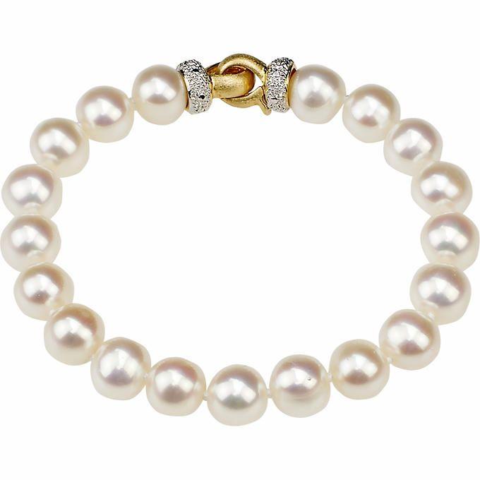Freshwater 8-8.5mm Pearl 14kt Yellow Gold Bracelet