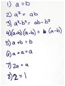 Challenge your high school student to find the flaw in this short mathematical proof that one is equal to two.