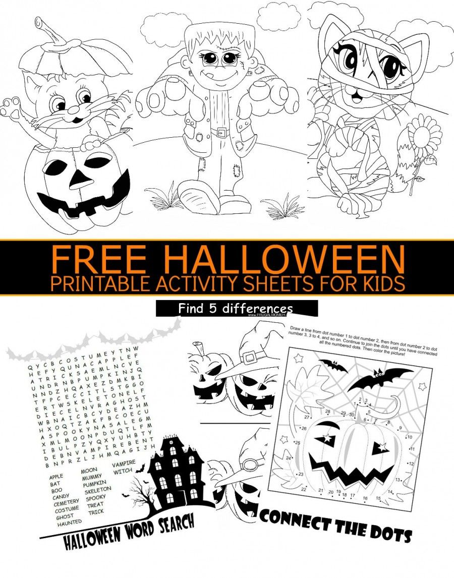 FREE Halloween Printable Activity Sheets for Kids | Pinterest ...