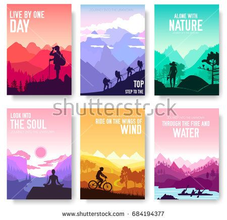 Sport rest day vector brochure cards set Tourism on nature template - invitation template nature