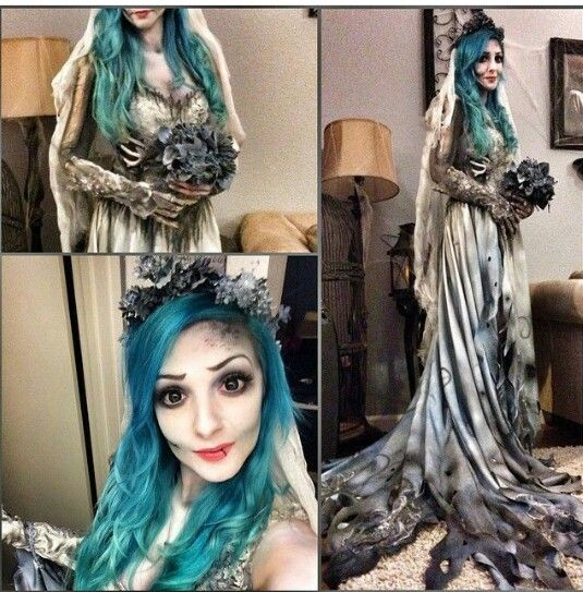 Really love this corpse bride costume. Good alternative to the blue face that can easily turn wrong.