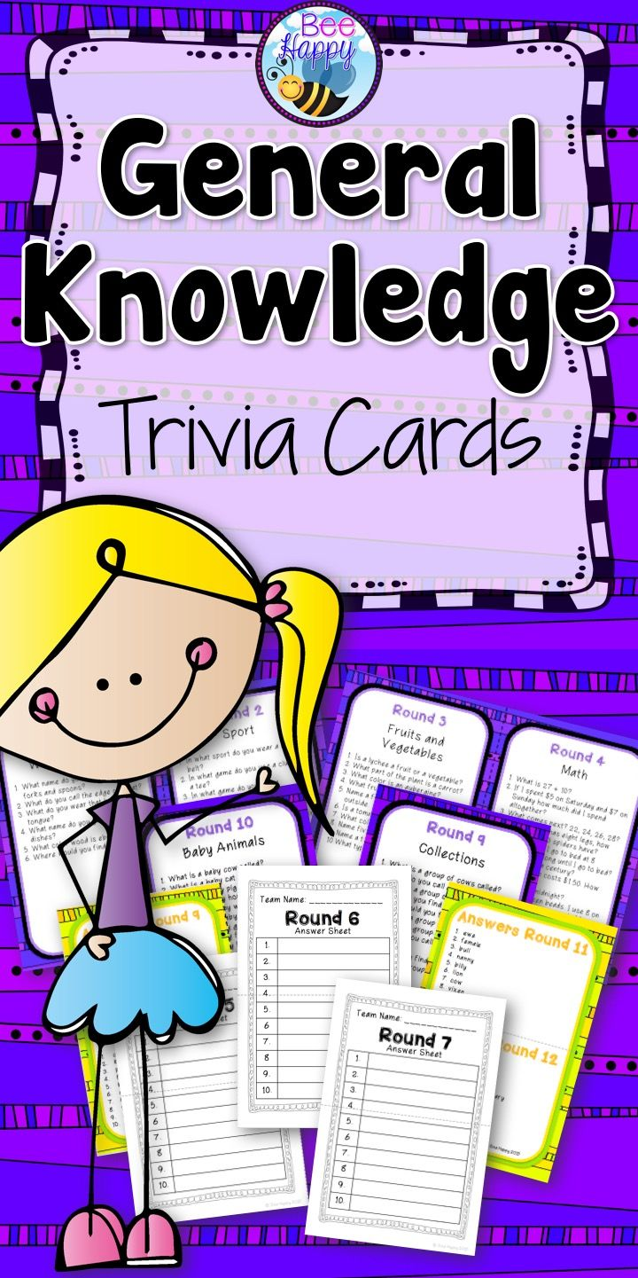 General Knowledge Trivia Cards Trivia questions, answers
