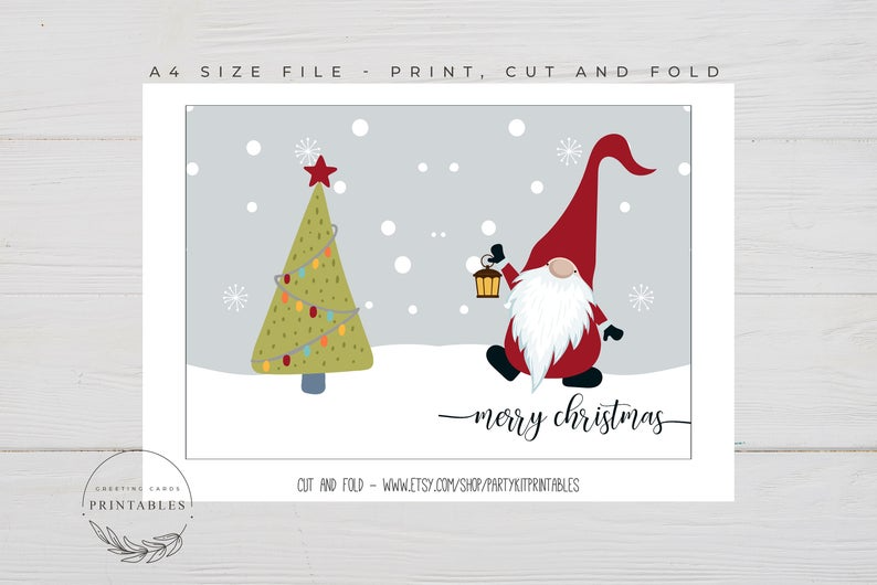 Scandinavian Gnome Printable Christmas Card Digital Download Etsy In 2021 Printable Christmas Cards Christmas Cards Birthday Card Printable