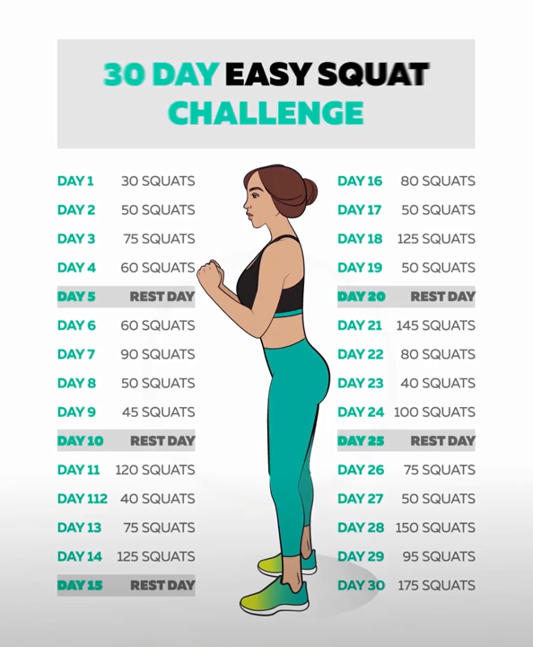 30-tägige Kniebeugen-Herausforderung zur Reduzierung des Gewichtsverlusts #quat... - fitness transfo...