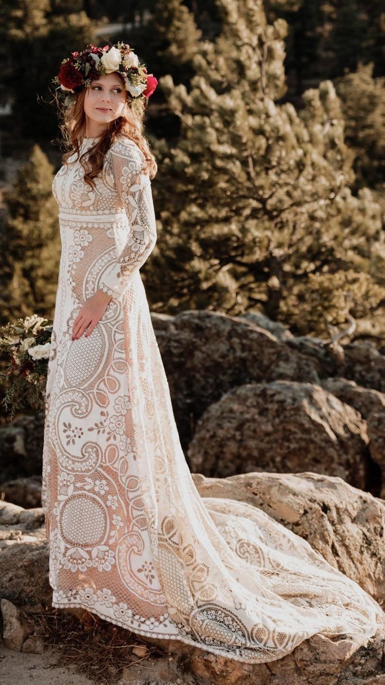 Wedding dress, boho wedding dress, lace wedding dress
