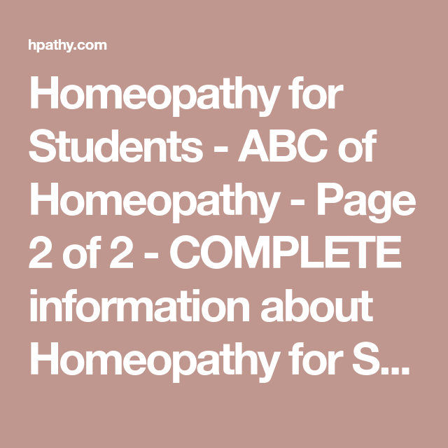 Homeopathy For Students - Abc Of Homeopathy