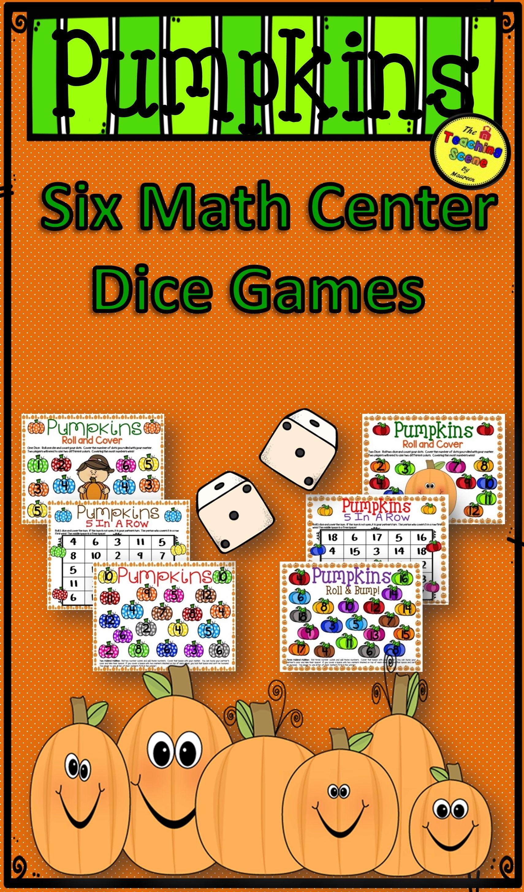 Pumpkin Math Center Dice Games Math centers, Math, Math