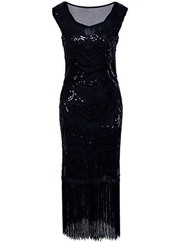 Vijiv Long Prom Vintage Fringe Sequin Art Nouveau Deco Flapper 1920s Dress,Black,X-Large