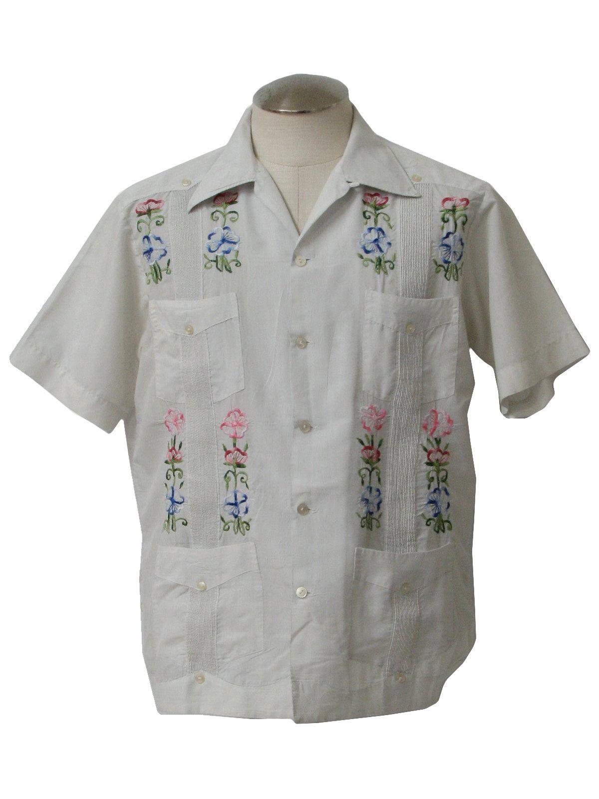 1970's Yucatan Mens Hippie Style Guayabera Shirt Mexican