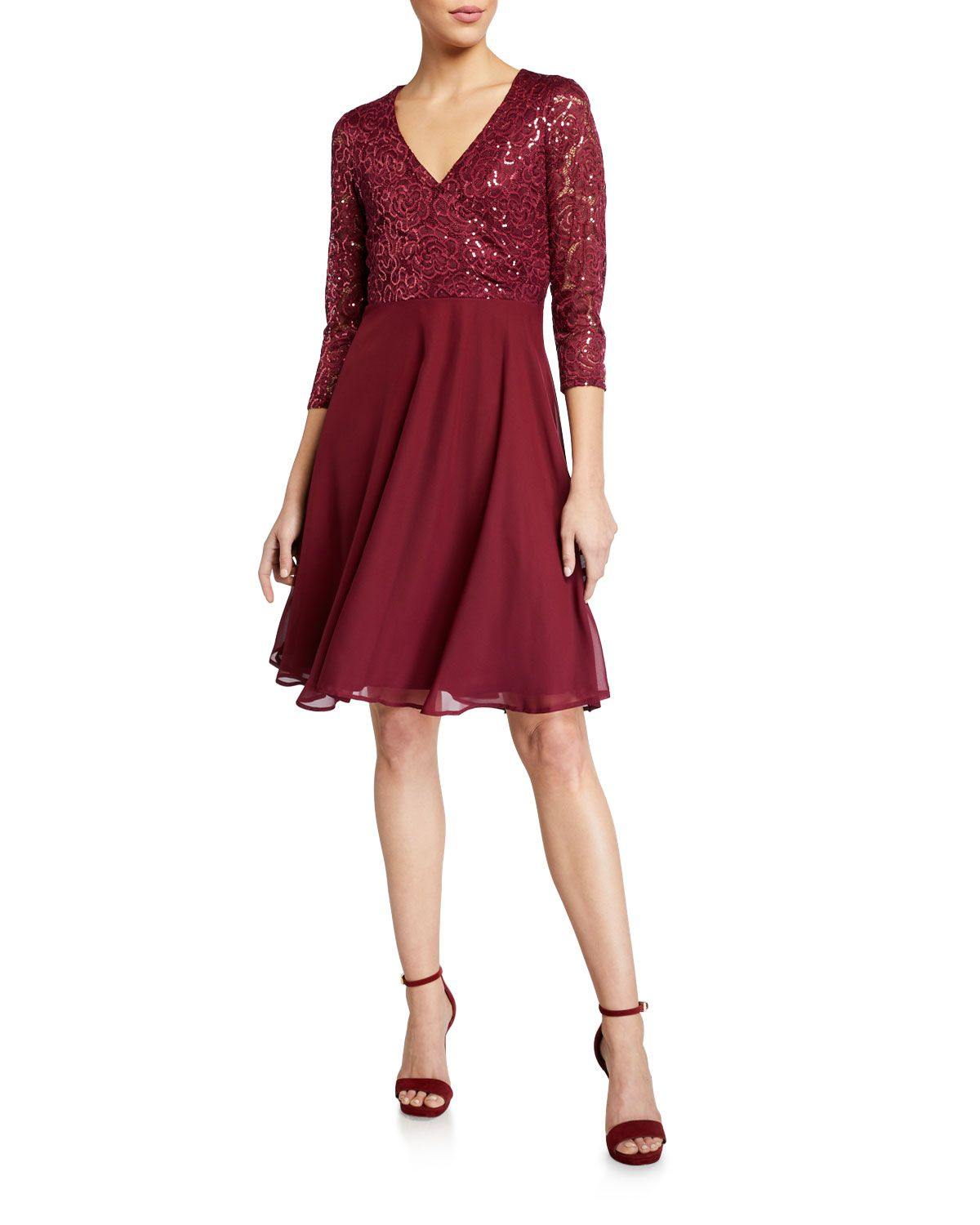 Marina Lace Chiffon Fit And Flare Cocktail Dress Marina Cloth Cocktail Dress Lace Cocktail Dress Fit And Flare Cocktail Dress [ 1500 x 1200 Pixel ]