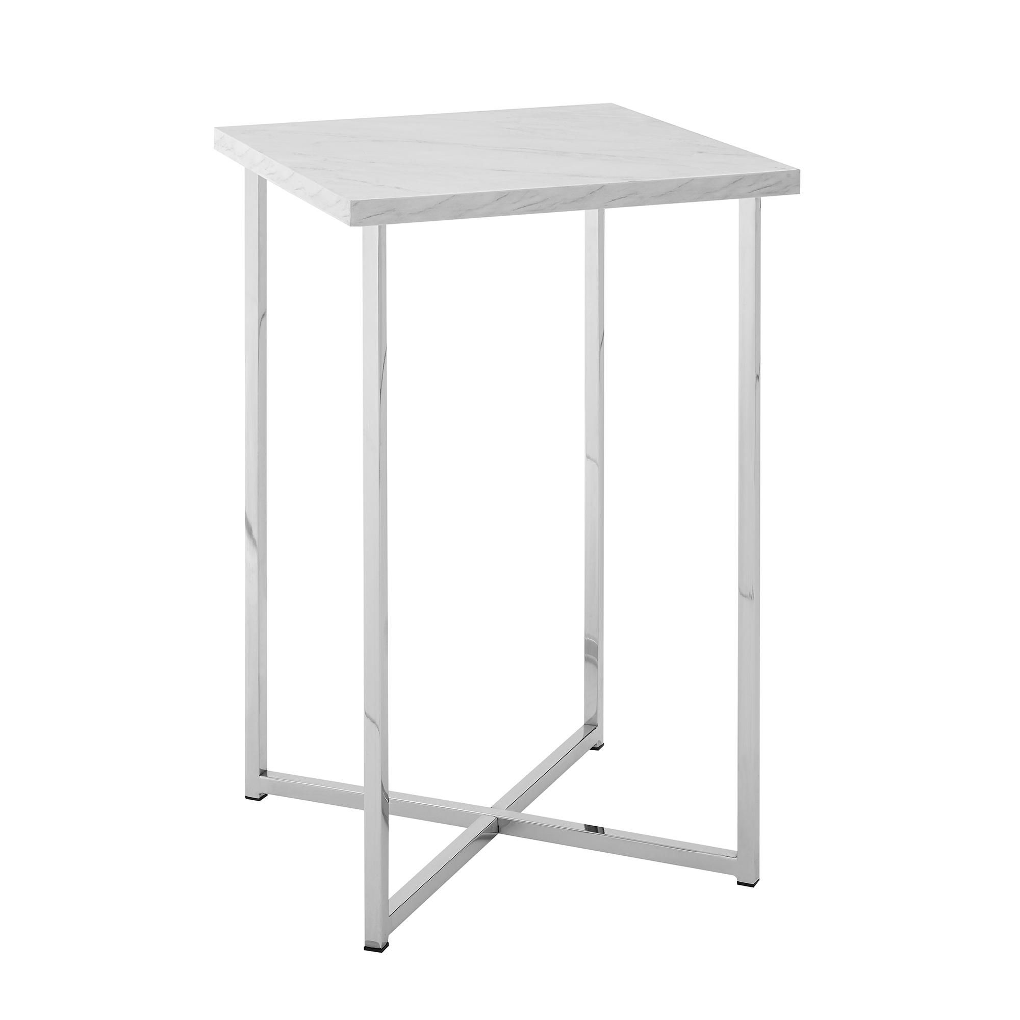 Modern Square Side Table White Marble Top Chrome Legs Square