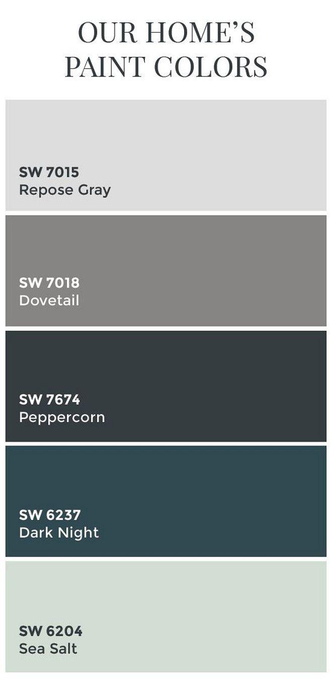 Interior Design IdeasTransitional Home Color Scheme: Sherwin Williams  SW7015 Repose Gray. Sherwin Williams SW7018 Dovetail.