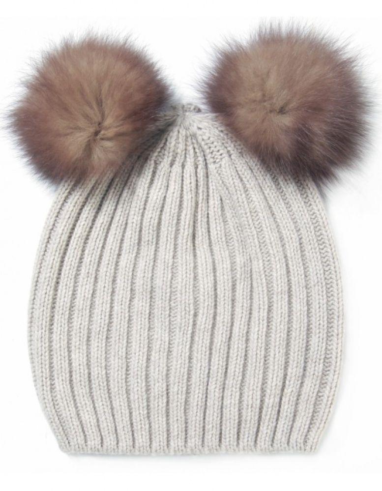 Double Pom Pom Beanie Hat  f426280a38a