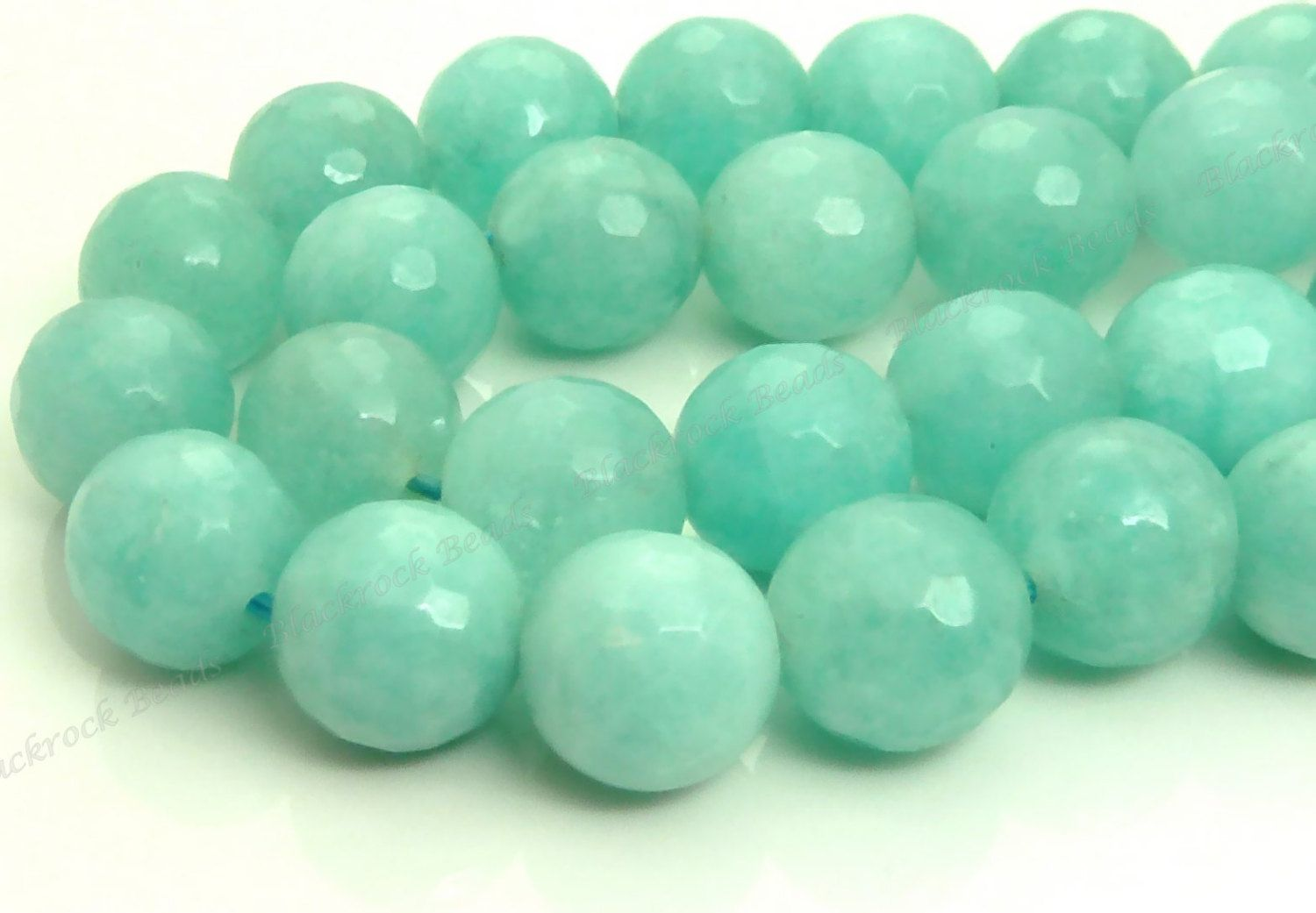 10mm Seafoam Green Jade Faceted Gemstone Beads - 15.5 Inch Strand - BF24 by BlackrockBeads on Etsy