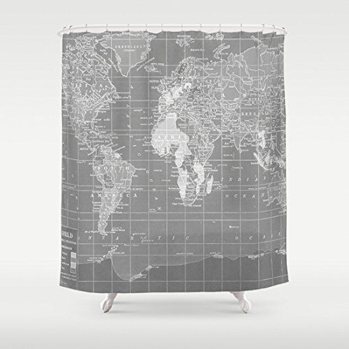 World map shower curtain check out this great product amazon gray and white minimalist world map fabric shower curtain measures 70 by 70 and has button holes for hanging polyester fabric printed in the usa gumiabroncs Gallery