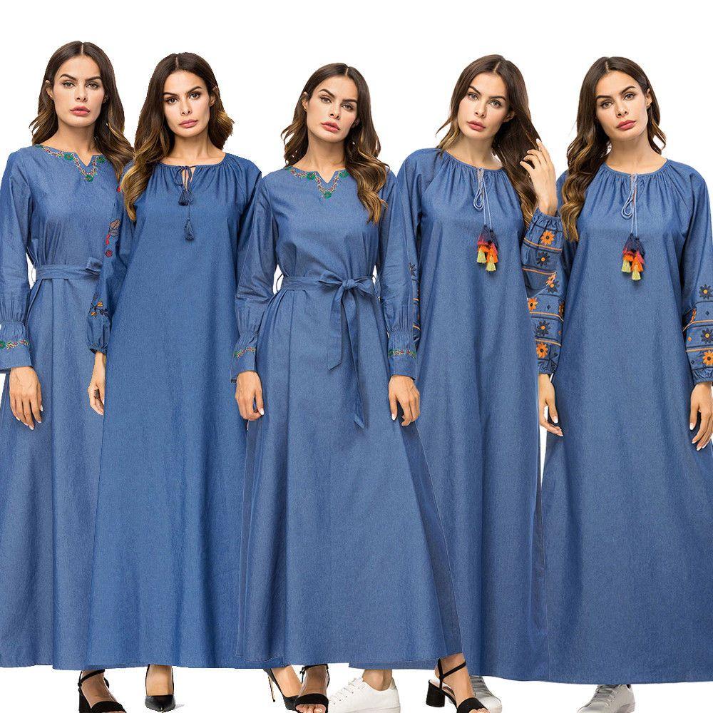 5fa3678f0b  DenimDress Women Muslim Denim LongSleeve Maxi Dress Loose Abaya Jilbab  Cocktail Kaftan Gown - Denim