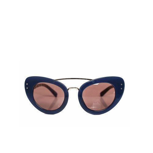 Linda Farrow x Erdem Royal Blue Cat Eye Sunglasses