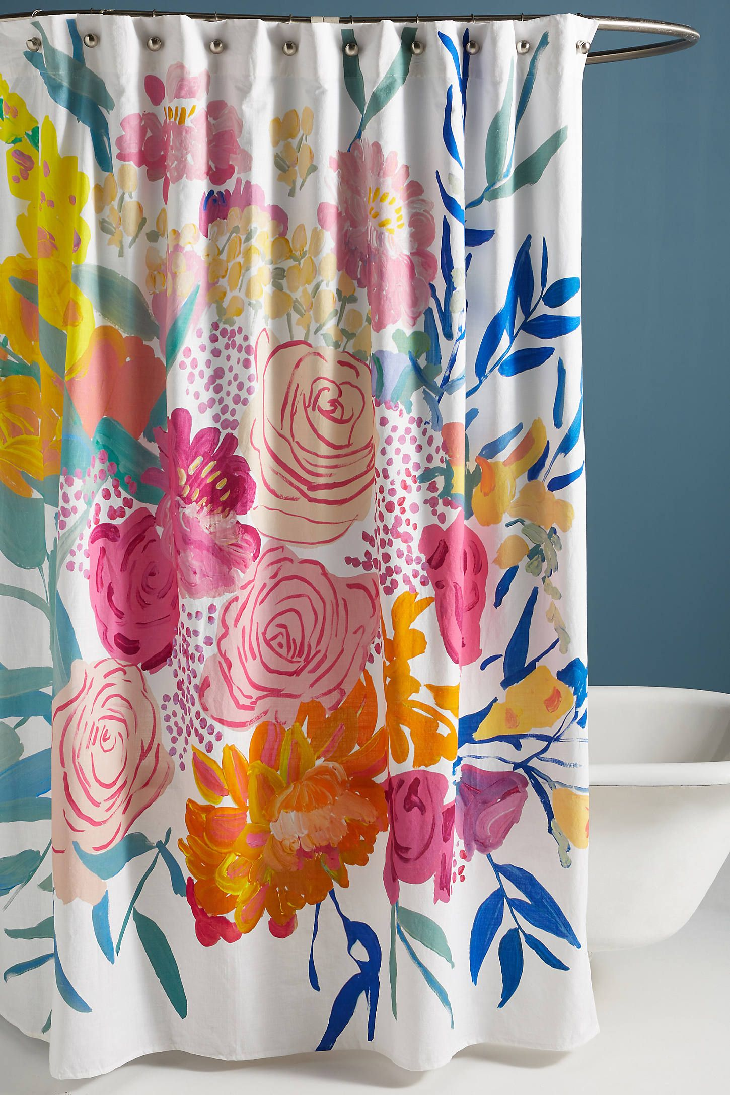 Paint Petals Shower Curtain Curtains New Toilet Small Bathroom