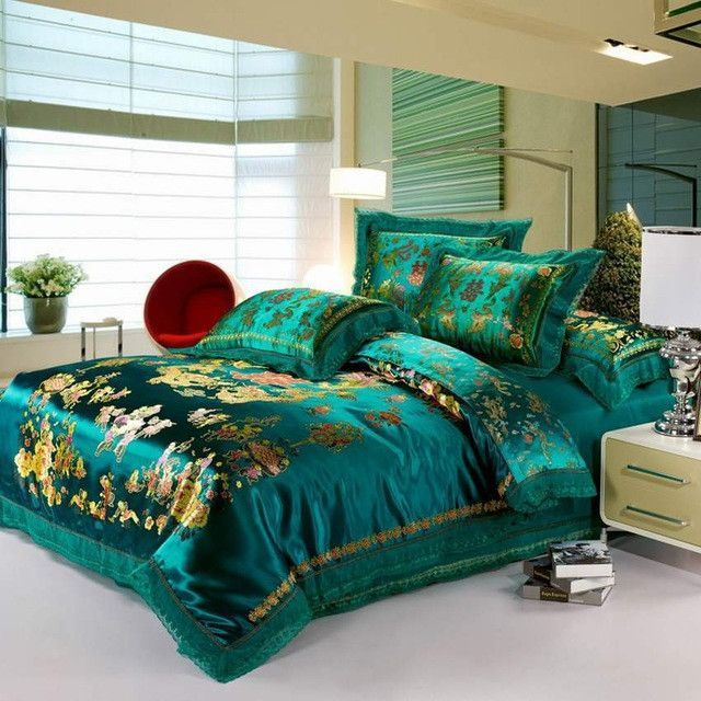 Satin Duvet Cover Set Dragon And Phoenix Chinese Red Wedding Bedding Set Print Modern Suits Jacquard Bedcloth Bed Comforter Sets Wedding Bed Green Duvet Covers