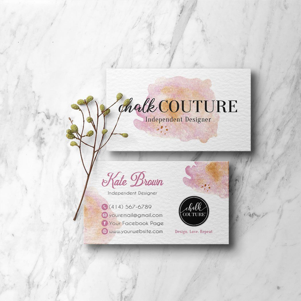 Pink Watercolor Chalk Couture Business Cards Personalized Chalk Couture Template Cc05 Floral Business Cards Personal Cards Arbonne Business Cards
