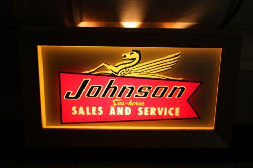 Johnson Outboard Motor Dealer Lighted Vintage Sign 1950 S Rare Marine Boat Vintage Signs Vintage Signs For Sale Vintage Tin Signs