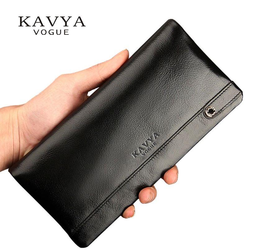 KAVYA 2017 Genuine Leather Wallet Men Fashion New Designer Gift for man Calfskin Purse Long Section Bags Clutch Wallet Drop Ship