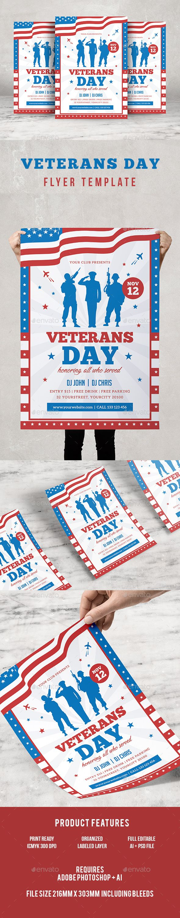 veterans day flyer flyer template template and text fonts