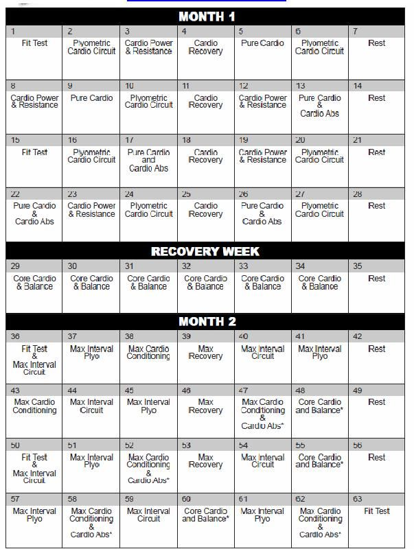 Calendario Insanity.Insanity Workout Print Outs