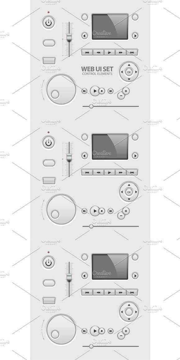 UI Elements Design Light Gray. UI Elements