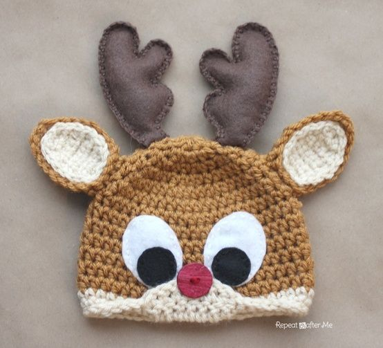Repeat Crafter Me: Crochet Rudolph the Reindeer FREE Hat Pattern by rosanne
