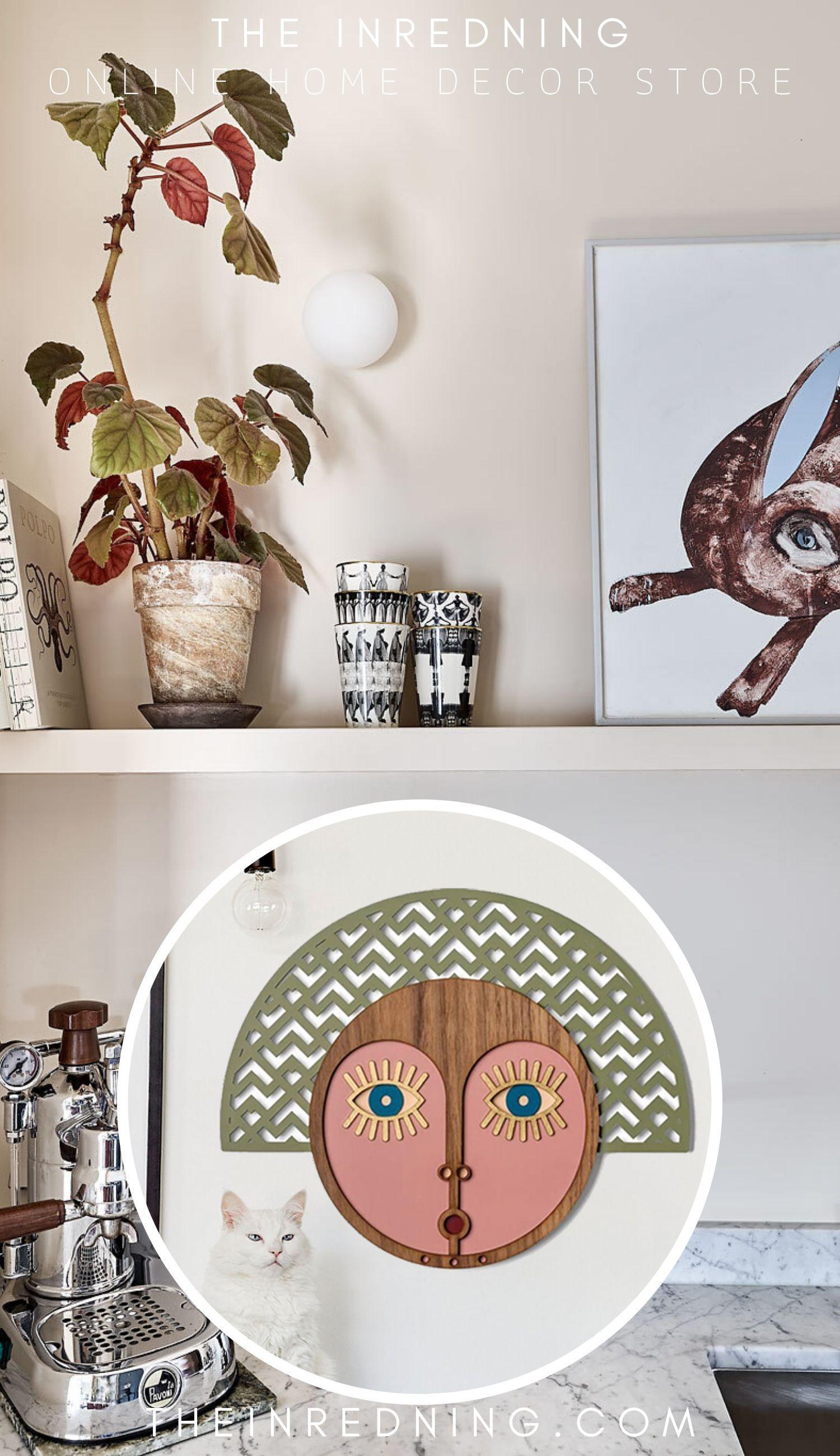 Photo of Väggdekoration Trä med Snidat & Målning till Skulptur Ansikte Inredning