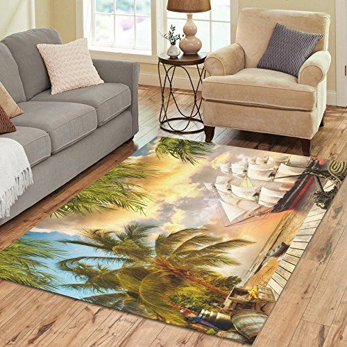 Adediy Personalized Rug Pirate Ship Palm Tree Wooden Wharf Area Rhpinterest: Palm Tree Rugs For Living Room At Home Improvement Advice