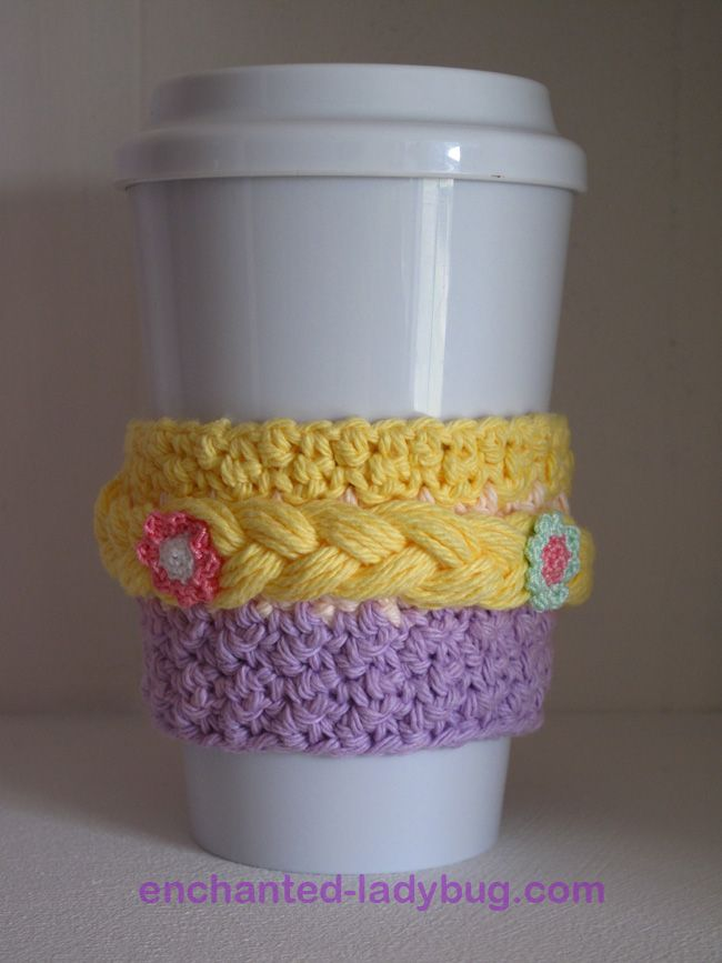 Free Crochet Rapunzel Coffee Cup Cozy Pattern | Crochet | Pinterest