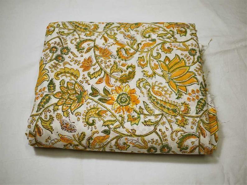 100/% Cotton Indian Block Printed Fabric Dressmaking Sewing Crafting Bohemian