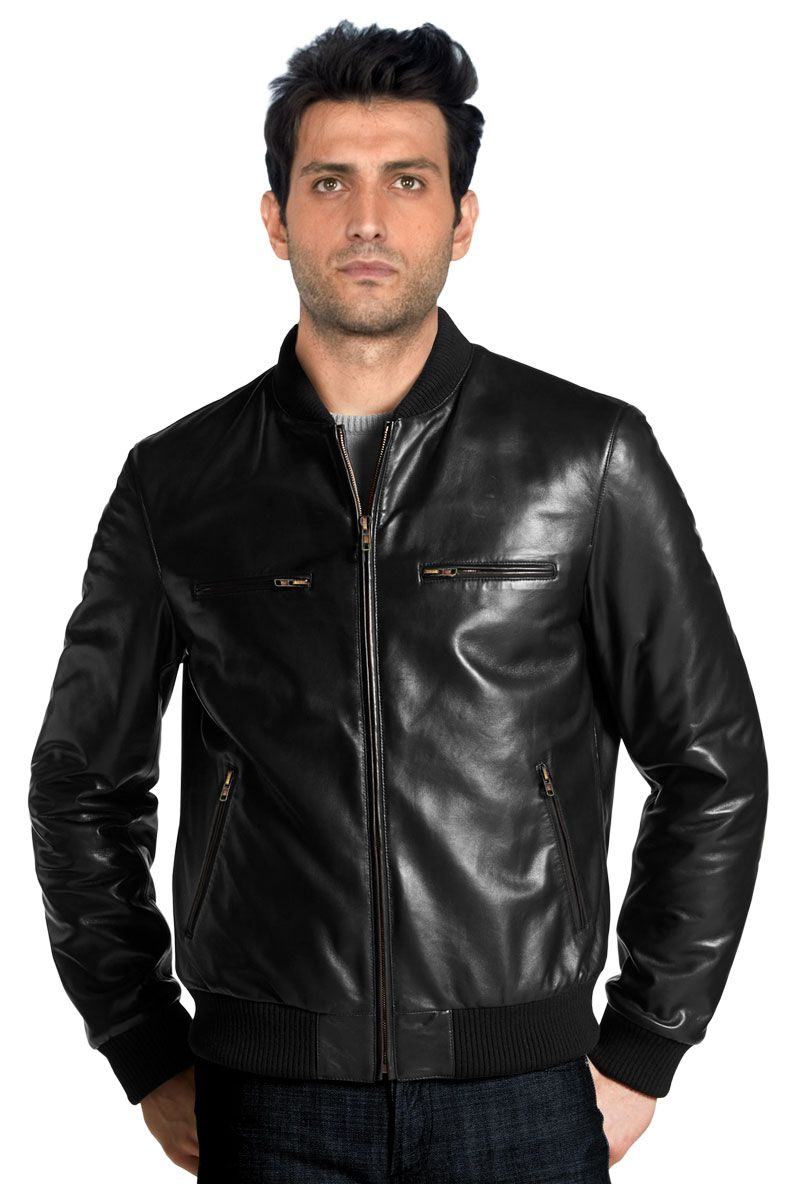 d37882d7f4d Simple And Elegant Mens Leather Bomber Jacket
