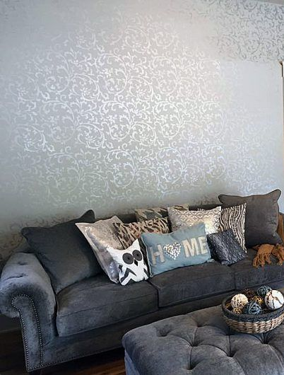 A Metallic Stenciled Living Room Accent Wall Using The Victoria Scroll Allover Stencil From Cutting Edge