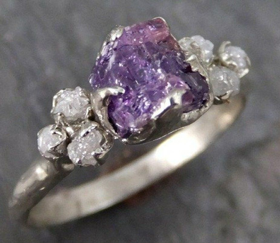 Raw Amethyst Engagement Ring Purple Gemstones Rings Amethyst