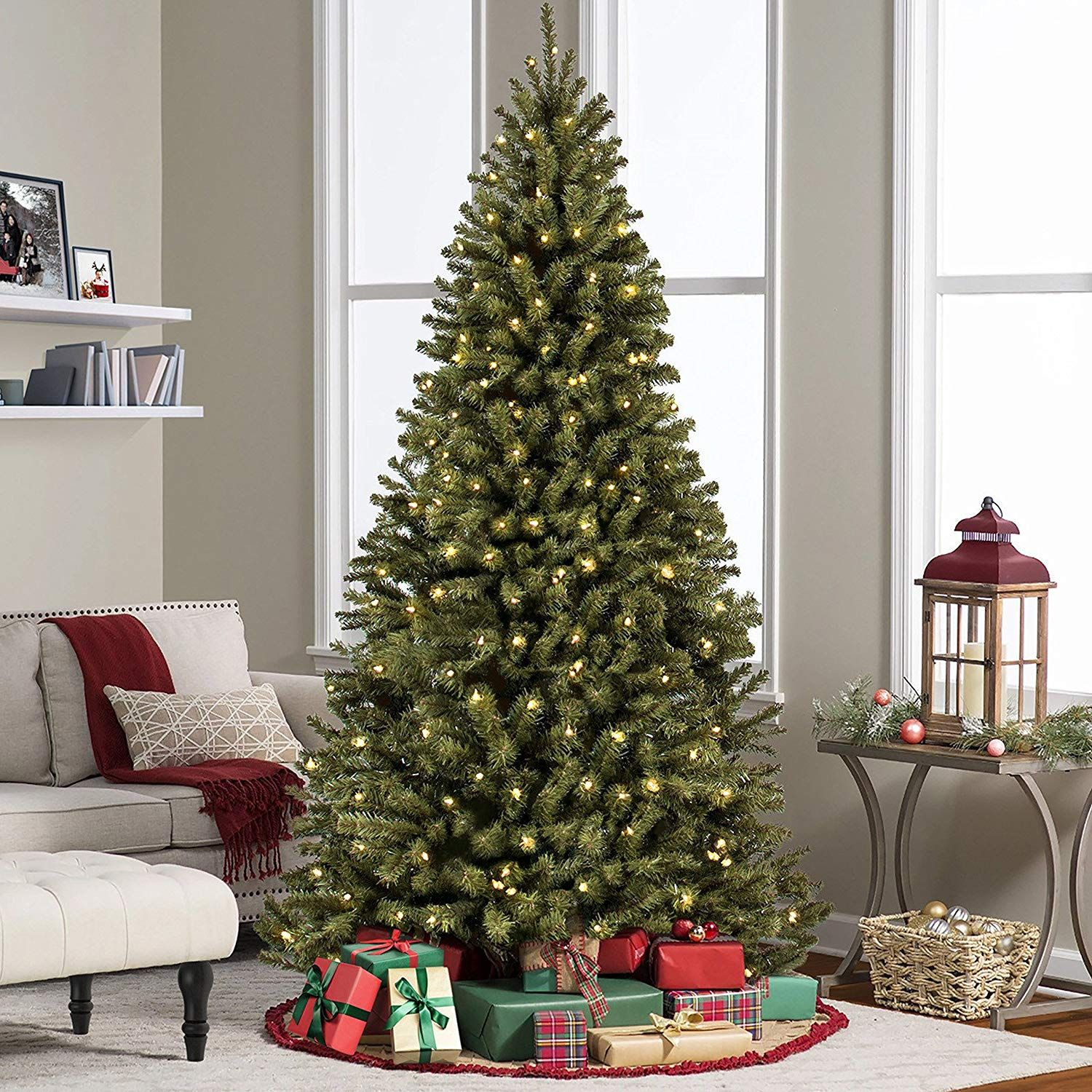6Ft Pre-Lit PVC Hinged Artificial Christmas Tree w// 250 Lights /& Stand Decor