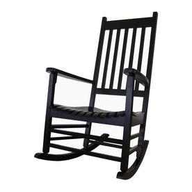 international concepts black wood slat seat outdoor rocking chair