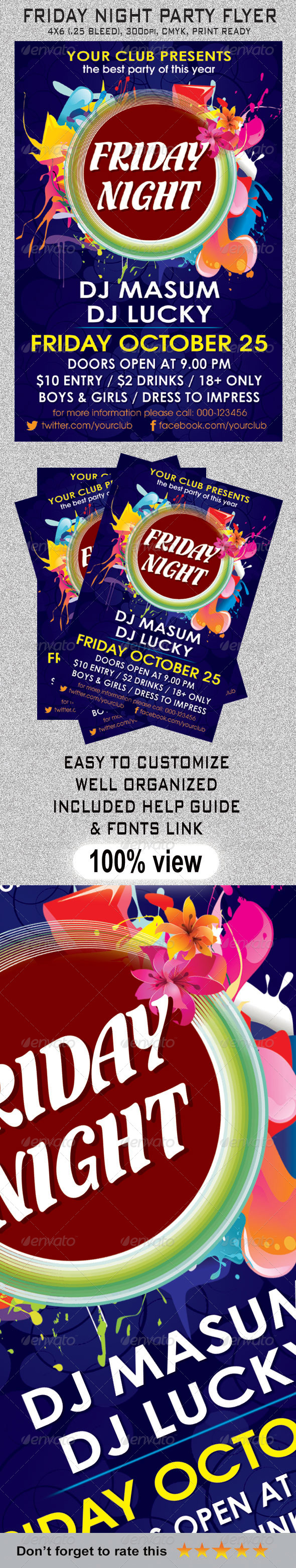 Friday Night Party Flyer #GraphicRiver Features: • Easy to edit ...