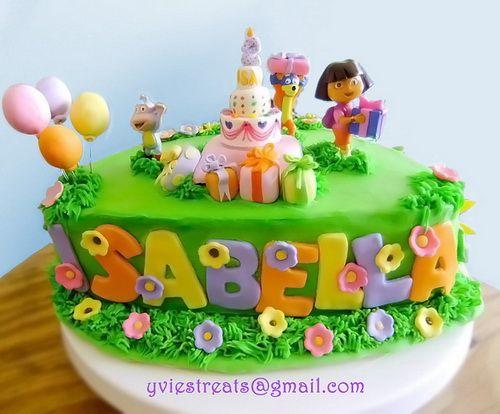 awesome dora birthday cake with name Dora Birthday Cake Ideas