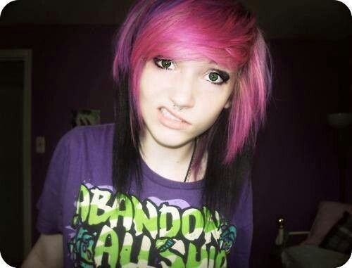 Emo Girl Black And Pink Hair