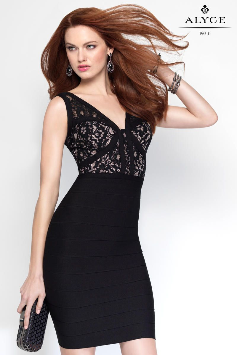 Alyce paris has a laced bodice with a low v neckline and thick