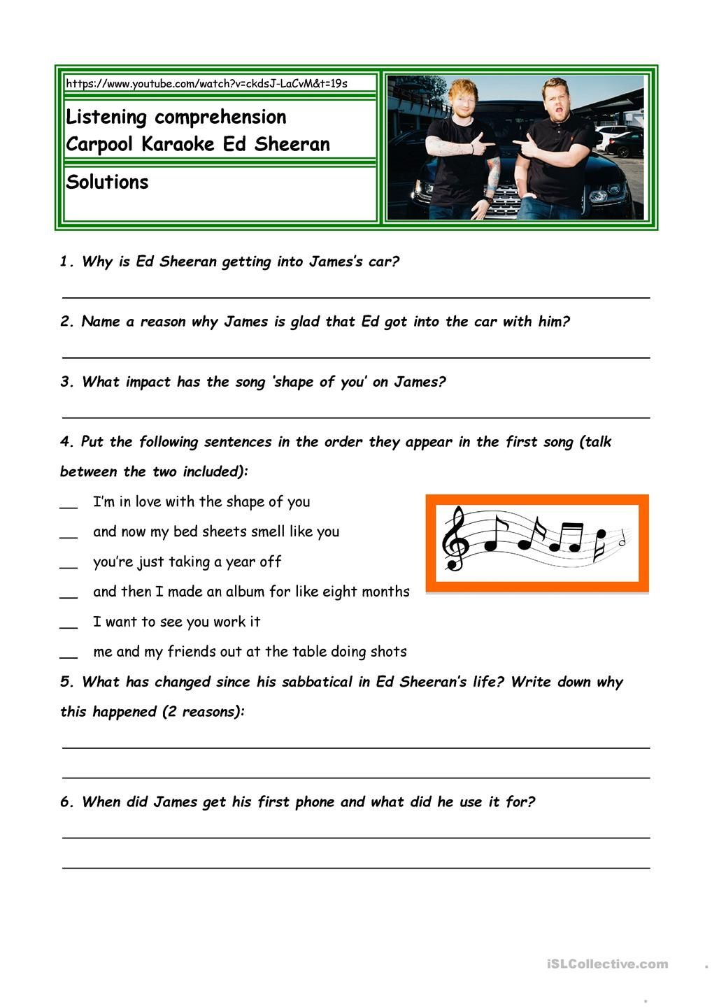 Worksheets Listening Comprehension Worksheets listening comprehension carpool karaoke ed sheeran esl activities comprehension