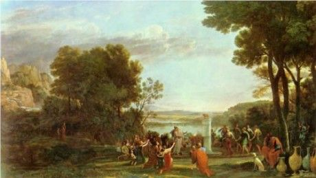 LANDSCAPE WITH THE ADORATION OF THE GOLDEN CALF. 1653. oil on canvas. 147 × 248 cm.