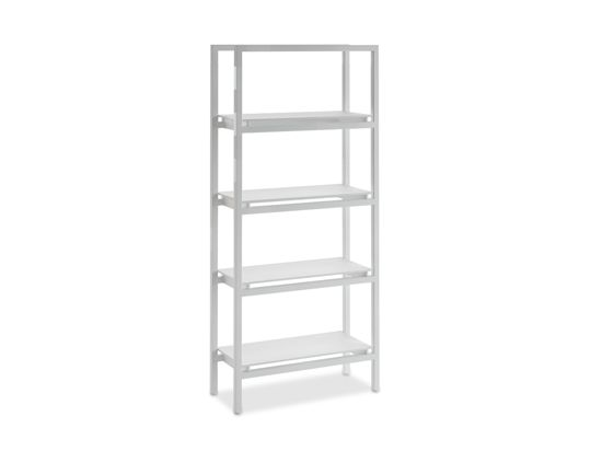 Scandinavian Designs Solidly Constructed With Clean Modern Lines The Nova Bookcase In Snow White Metal Finish Smooth Frosted Gl Storage Shelves