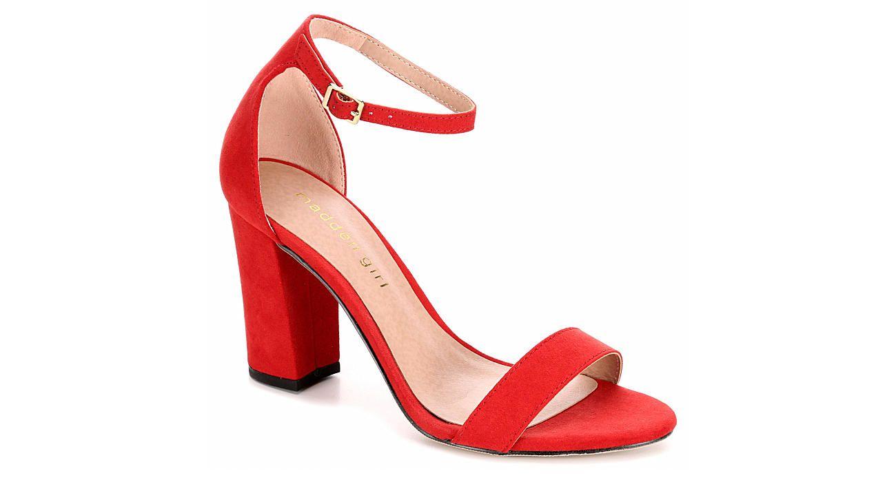 Madden Girl Beella Red Block Heel Dress