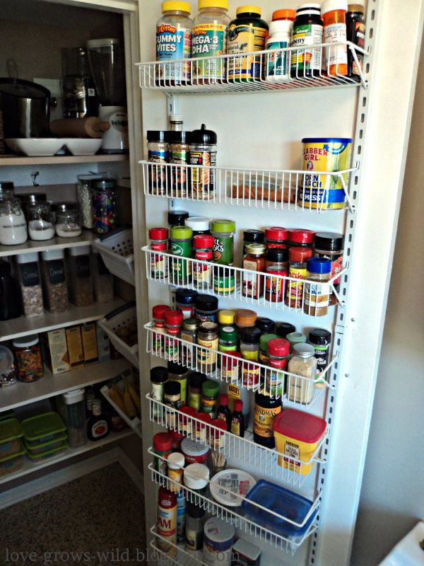 Pantry Door Organization Using Closetmaid Door Rack Kit. Just Added One Of  These To My Own Pantry Door. Freed Up Tons Of Shelf Space.