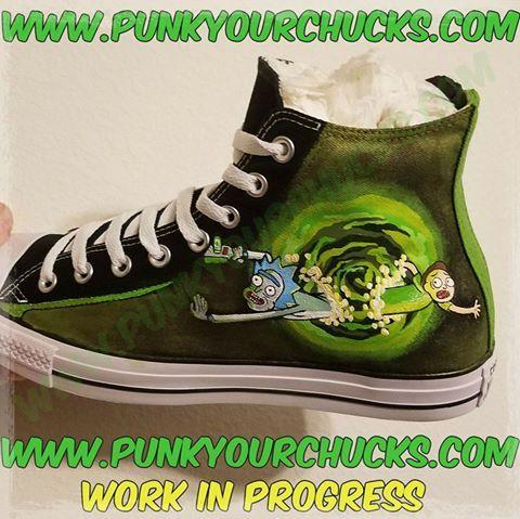 Custom Rick & Morty Chuck Taylor Hi Tops   Converse design